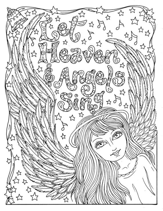 Weihnachten Engel Instant Download Färbung Seite Christian