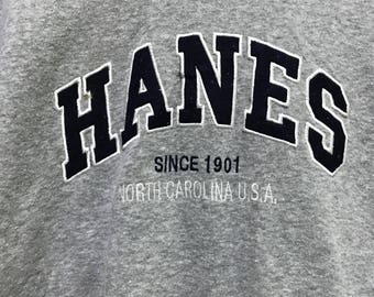 Simple!!! Hanes Sweatshirt Big Logo Spellout Pullover Sweater Embroidery