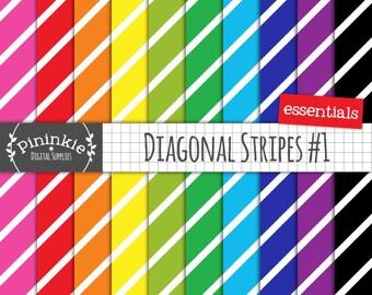 Diagonal Stripe Digital Paper, Background Pattern, Scrapbooking Paper, Instant Download, Commercial Use