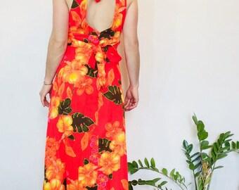 Vintage hawaiian dress neon hibiscus dress Hawaiian barkcloth dress vintage barkcloth dress hawaiian maxi dress barkcloth maxi tiki dress