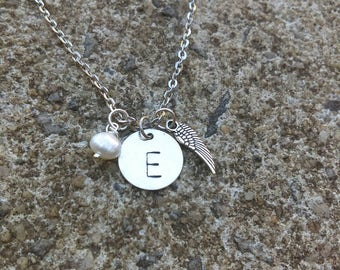 Angel Wing Necklace - In Memory Jewelry - Remembrance Jewelry - Initial Necklace - Personalized Memory Necklace - Sympathy gift