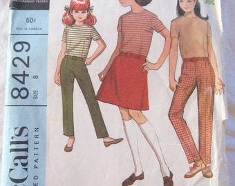 vintage McCALLS 8429 sewing pattern-- Girl's Separates:  Blouse, Skirt, and Pants (size 8)--1966
