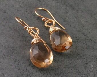 Champagne citrine earrings, handmade 14k gold filled gemstone earrings-November birthstone
