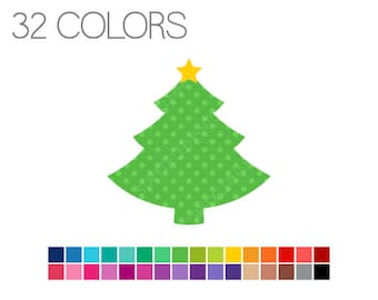 Christmas Tree Clip Art Polka Dots with Star - Digital Clipart - Instant Download - Commercial Use