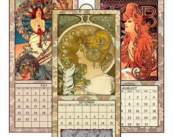 "HALF PRICE  2018 Digital Calendar Printable Downloads 4.8"" X 10""  Vintage Mucha Art Nouveau Posters 12  Images Ladies Women 2018 CAL 4"
