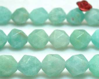 47 Pcs of Natural Amazonite faceted nugget beads in 8 mm (06620#)