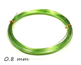 10 meters of wire aluminum 0.8 mm - light green