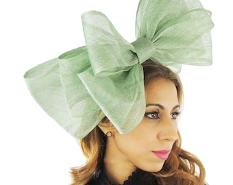 Cliverina 12 Inch Sage Moss Green Fascinator Hat for Weddings, Races, and Special Events With Headband