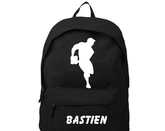 bag has black back personalized with name rugby player