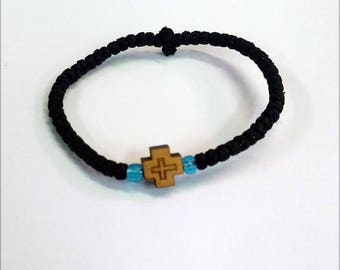 Prayer Rope 88 knots wool,wood cross and blue beads with Holy anointing oil - chotki - komboskini - Amulet - Good Luck