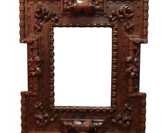18th century highly carved monumental Wooden Frame w/Mirror