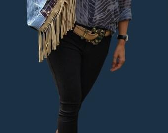 DENIM BAG, Shoulder Denim Bag,Leather Denim Bag, Women's Bag, Jeans Bag, Denim Handbag, Borse, Denim with Leather,Shoulder bag