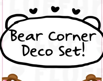 Bear Corner Sticker Deco Set  || Planner Stickers, Cute Stickers for Erin Condren (ECLP), Filofax, Kikki K, Etc. || CS01