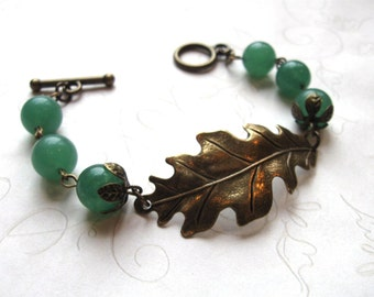 Vintage style oak leaf bracelet, green gemstone beads, woodland, womens jewelry