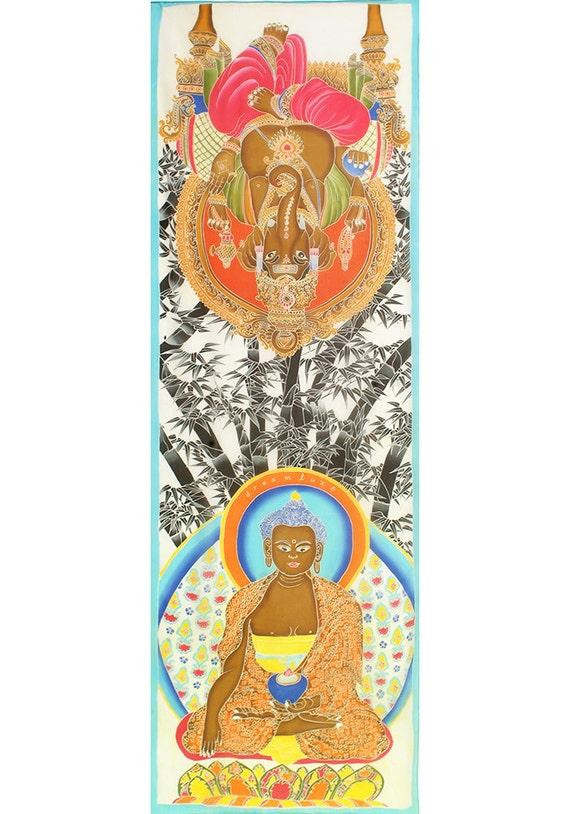 Batik hand painted Silk Scarf with Buddha, Ganesha and bamboo. 100% Chiffon silk.