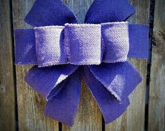 Burlap Bow, Purple Bow, Home Decor Bow, Lantern Swag Bow, Gift for Mom, Wedding Burlap Bow, Christmas Purple Burlap Bow