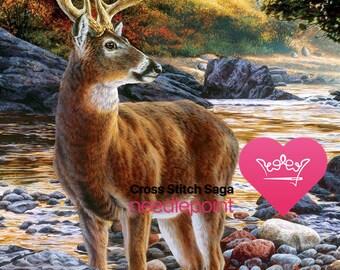 Deer cross stitch pattern - Large cross stitch chart - Cross stitch animal - Wildlife cross stitch design - Printable PDF - Download