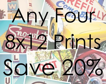 Choose Your Own Set of Four 8x12 Prints | Save 20% on Set of Four Fine Art Photographs | Personalized Home Decor | Gifts for Her