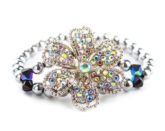 Silver hematite sparkle bracelet