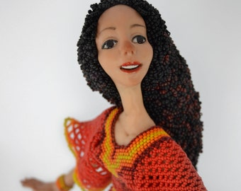 Collectable Doll Art Doll Beaded Unique doll Summer