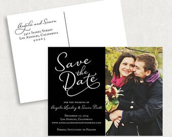 Photo Save the Date Postcards, Calligraphy Save the Date Postcards, Black and White Save the Date Postcards, Classic Save the Date Postcards