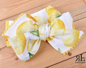 Lemonade Headwrap - Bow Headwrap - Head Wrap - Baby Headwrap - Hair Bow