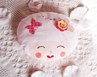 Handmade face doll-kokeshi blankie - small cushion face