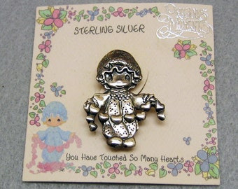 Precious Moments, Touched Hearts, Sterling Brooch, Vintage