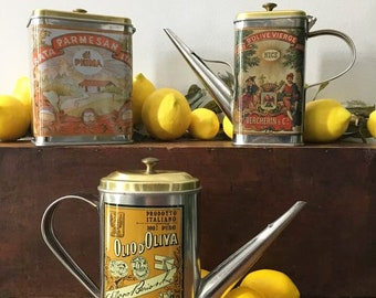 Italian Olive Oil Can / Long Spout Oil Tin / Parmesan Tin / Cooking Oil Can / Italian Kitchen Decor / Kitchen Tins / Vintage Advertising