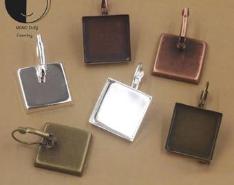 16/18/20/25mm Square Earring Blanks Bezels Trays Settings-Earring Bezel-French Lever Back Earrings-Earring Base-Earring Component Blanks