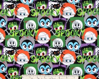 Halloween Fabric - Monster Faces Mummy Skull Frankenstein - AE Nathan YARD