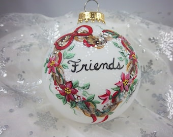 Friends Ornament, Grapevine Heart , Hand-Painted,  Red Poinsettia, Friends Gift, Keepsake Ornament, Free Inscription