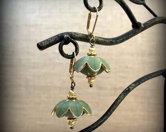 Green Round Earrings - Green Leaf Earrings - Green Dome Earrings - Domed Earrings - Puffy Earrings - Flower Earrings - Botanical Earrings