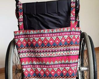 Ethnic print red wheelchair shopping bag