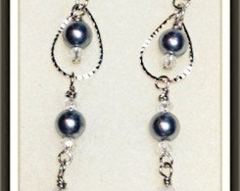 MWL 3 pearl drop with saworski crystals earrings