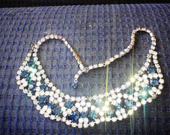 Vintage Czech Rhinestone Necklace, bib, collar, Diamante  Wedding Jewelry 1950s stunning sparkling choker