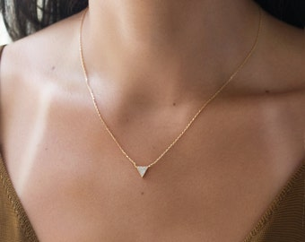 14K Gold Triangle Necklace Cubic Zirconia Dainty Triangle Necklace Tiny Silver Necklace Minimalist Necklace Delicate Crystal Necklace N341-G