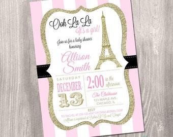 Paris baby shower invitation french baby shower invitation paris baby shower invitation eiffel tower baby shower invitation pink and gold paris filmwisefo Gallery