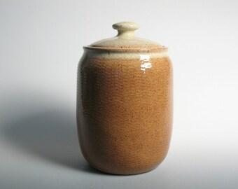 Canister, lidded jar, dog treat jar, stoneware pottery