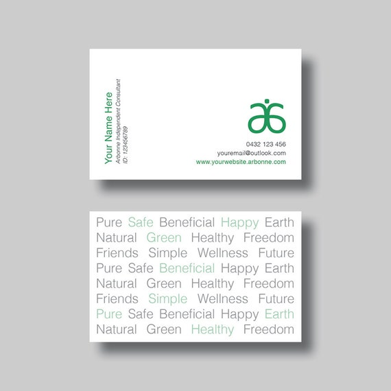 Arbonne Business Card Simple Words Digital Design