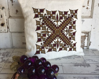 Vintage Needlepoint Pillow - Crewel Brutalist Gold and Wine Geometric