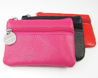 Personalized Leather Coin Purse, Custom Change Wallet ID Card Zip Pouch, Engraved Red Hot Pink Black Gift for Her
