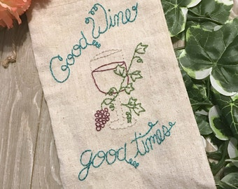 Hand-embroidered wine bag hostess gift good wine good times wine lover gift wine bottle carrier wine gift embroidered bag handmade gift