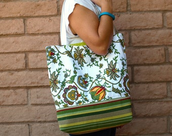 SALE! Yellow and Green Floral Bag or Tote Lined Tote Cotton Tote Red Floral Bag Cotton Bag