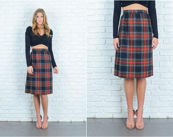 Vintage 80s Black Retro Skirt Wool Plaid Striped Pencil Straight S M 6761