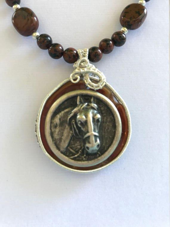 Mahogany Obsidian Horse Pendant Necklace