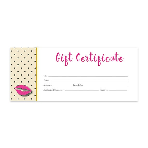 Lips Lipsense Pink Blank Gift Certificate Download Gold