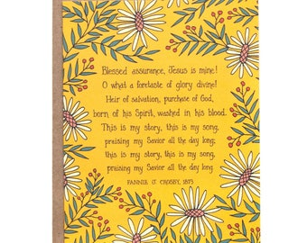 Blessed Assurance Hymn Greeting Card gift for women gift for mom stationery thank you card birthday card inspirational floral art print