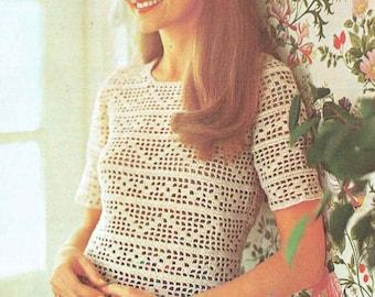 2281R Ladies  jumper  crochet vintage pattern PDF instant download