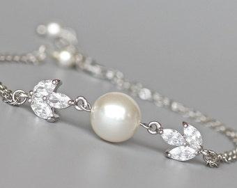Bridal Bracelet, Pearl & Crystal Bridal Bracelet, Rose GOLD and 18K GOLD Option, Flowergirl Bracelet, Bridesmaid Bracelet, HAYLEY